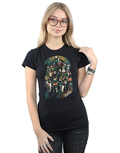 Absolute Cult Avengers Damen Infinity War Team T-Shirt Schwarz Large (Die Avengers Tshirt)