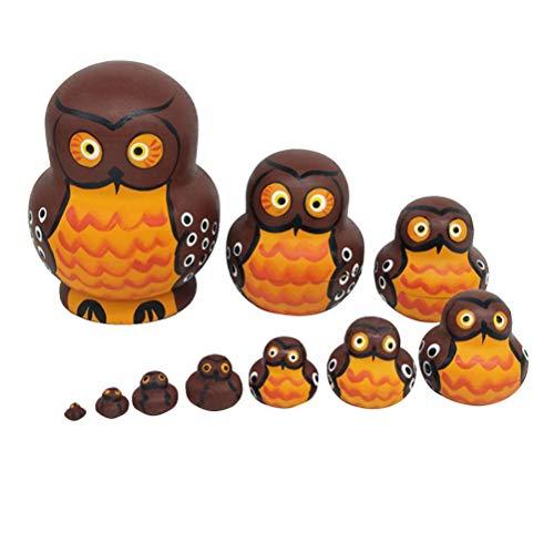 Healifty 10-Schicht Holz Eule Puppe Spielzeug Dekoration für Kleine Kinder Handwerk Geschenk Valentinstag Geschenk Home Dekoration