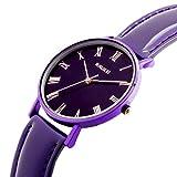 AIKURIO Damen Armbanduhr Analog Quarz Wasserdicht mit Lederband Ultra-dünnen Fall AKR009 (Lila)
