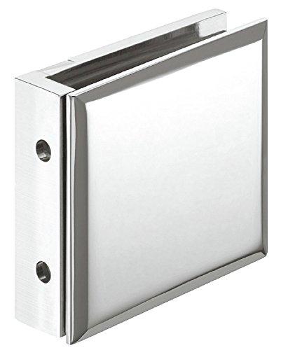 Moderner Glashalter Messing Glas-Klemmhalter für Duschen Glasklemme chrom poliert | Glas-Punkthalter für Wand zu Glas Verbindung | Duschkabinen-Halter Messing verchromt poliert | Modell-Nr. H2225 | für 90 ° Winkel | Möbelbeschläge von GedoTec®
