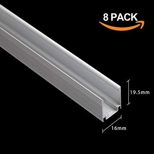 Piste de canal en aluminium de 1M / 3.3FT pour installation de lampe à néon à LED de 15 mm par Shine Decor®, 8 pack