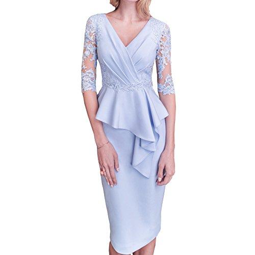 ShineGown Mutter der Braut und Bräutigam Kleid 2 Stück Schößchen knielangen mit halben Spitzen Ärmeln (Spitze, 46) (Mutter Des Bräutigams Kleider)