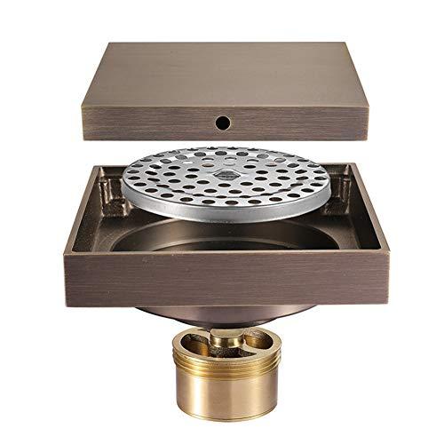 HHJJ Messing 4-Zoll-Quadrat Dusche Bodenablauf Flieseneinsatz Bronze Finish Bodenablauf Desodorierung Rückfluss verhindern Gitter Rost Sieb - Bronze, Beton