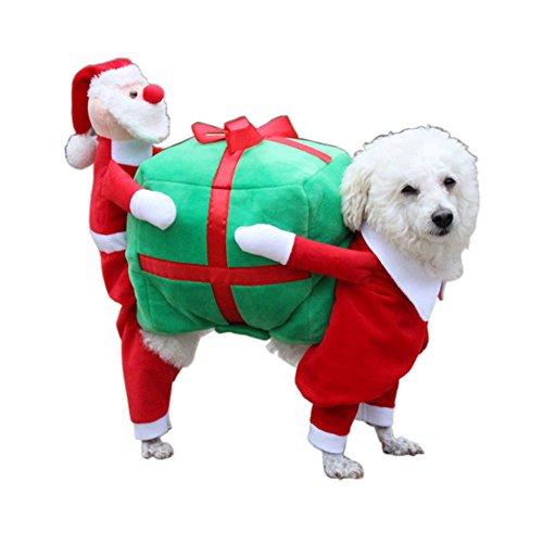 Puppy Hund Weihnachten Outfits Kleidung Katze Cosplay, tragen Santa Sends Presents Süßer Mantel für Party Pet Costume Textilien Jacke Warmer (Outfits Weihnachtliche)