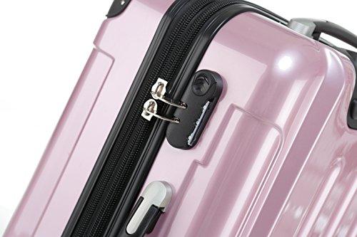 BEIBYE Hartschalen Koffer Trolley Rollkoffer Reisekoffer 4 Zwillingsrollen (Kofferset, Rosa) - 2