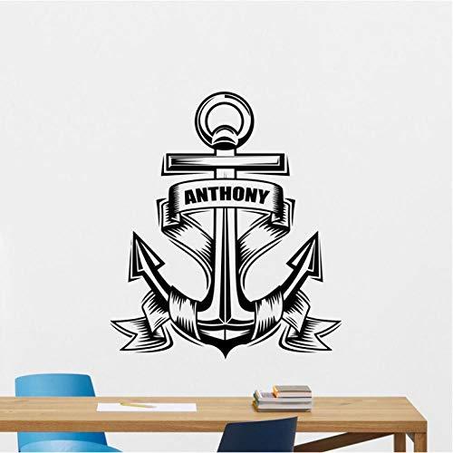 Aizaixinli Wandtattoos Persönliche Marine Vinyl Aufkleber Marine Nautische Badezimmer Wandaufkleber 58 * 70 Cm -