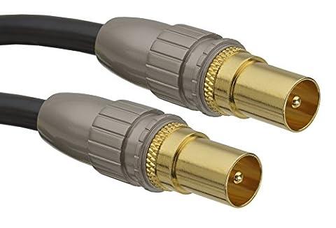 aricona HDTV Antennenkabel – Audio Koaxialkabel mit Adapter für Receiver und Fernseher / 5 Meter