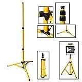 VINGO® Trípode telescópico para foco LED Foco halógeno faro Amarillo Acero trípode Lámpara de trabajo