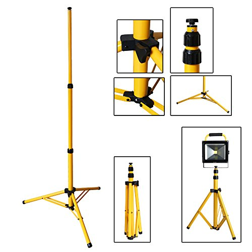 VINGO® Teleskop Stativ für Baustrahler LED Halogen Strahler Fluter Scheinwerfer Gelb Stahlstativ Arbeitslampe 1 Stück
