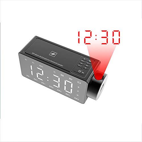 Xyxiaolun Bluetooth-Lautsprecher, Multifunktions-Doppelwecker Spiegelbildschirm Kabelloses Laden Bluetooth 4.2 LED-Hintergrundbeleuchtung Projektionslautsprecher,Black