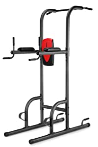 Weider Power Tower Chaise Romaine, 4 exercices en 1 : dips, chaise romaine, pompes, traction
