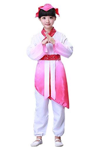 n & Mädchen Alte Chinesische Traditionelle Kostüme, Cosplay Kostüme, Performance Kleidung, Oberteile + Hosen + Kopfschmuck (Stil 3,EU 130 = Tag 140) ()
