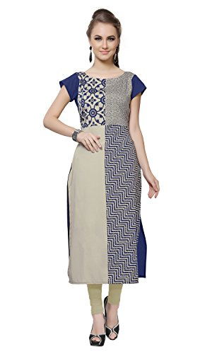 Ziyaa Multicoloured Boat Neck With Cap Sleeve Faux Crepe Digital Print Kurti  available at amazon for Rs.479
