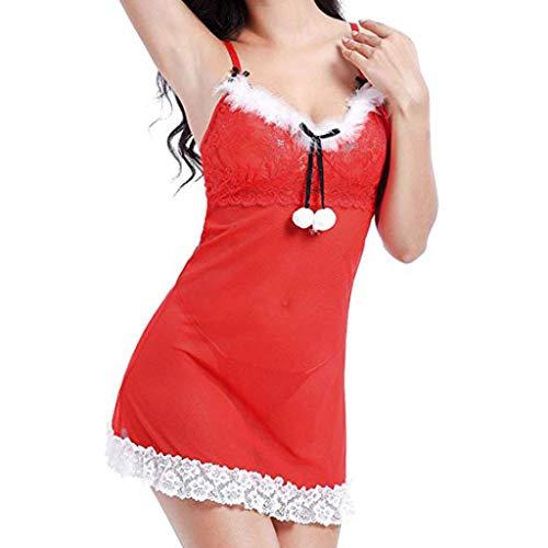 Amphia - Sexy Unterwäsche - Frauen-Weihnachtswäsche-Set-roter Spitze-Bogen Santa Babydoll Chemise
