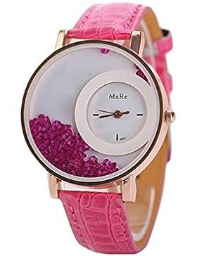 FEITONG Damen Einzigartig Uhr PU Leder Treibsand Rhinestone Analoge Quarz Armbanduhr Rosa