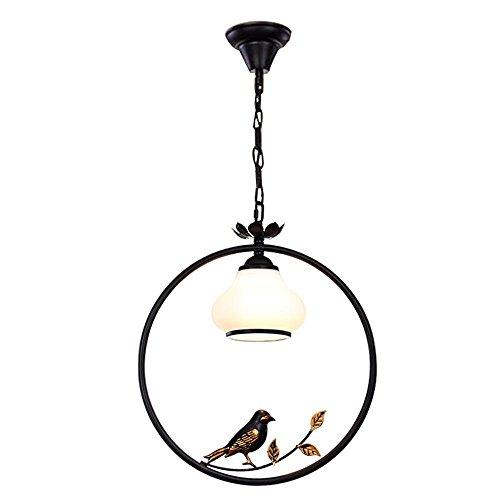 European Creative Métal Fer Bague mode Hauteur réglable élégant Loft Bird Chandelier style rétro Noir Plafonnier pour chambre Study Bar Les Edison - Ampoule 1 x E27 Ø35 cm