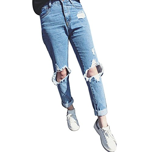 Guiran donna pantaloni larghi a vita alta boyfriend jeans strappato pantaloni leggings s blu chiaro