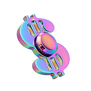 Sanjose81 Rainbow Note Dollar Shape Hand Spinners Brass Relieve Fidget Figure Toys Gift