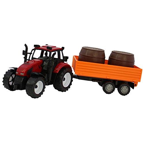 1:30 Juguete de Fundición A Presión Tractor Agrícola con Barriles Regalo Niños - Rojo, Naranja y Marrón