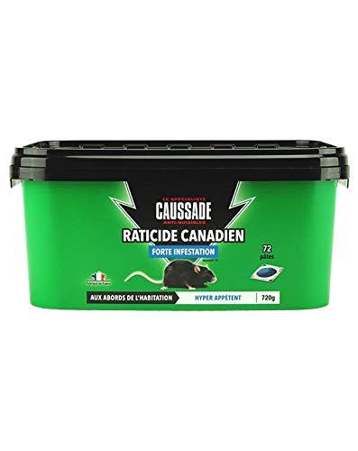 CAUSSADE CARPT720 Raticide Canadien Pat'Appât Forte Infestation pour Animal Vivant 72 Dosages