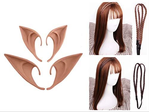 (thematys Elfenset - 2X Haarband Elben, ohne Perücke, Elfenohren 2X Paar zum Aufstecken Feen - Elfenkostüm für Erwachsene & Kinder - perfekt für Fasching, Karneval & Cosplay - Damen Herren)