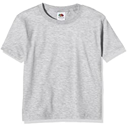 Fruit of the Loom Ss124b, Camiseta para Niños, Gris (Heather Grey), 14-15 Años