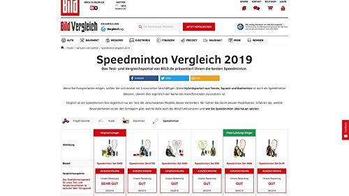 5 Speeder Rot//Wei/ß//Grau Speedminton S900 Set-Velocidad Original Badminton//crossminton Profesional con 2 Raquetas de Carbono Incl Campo de Juego Bolsa