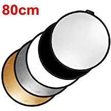 TARION Profesional Reflector 80cm 5 en 1 Reflector para Estudio de Fotografia Oro / Plata / Negro / Blanco / Difusor