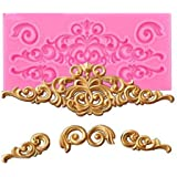 Bakefy® LACE Mold Baroque Style Curlicues Scroll Lace Fondant Silicone Mold for Cake Border Decorations, Cupcake Topper, Jewe