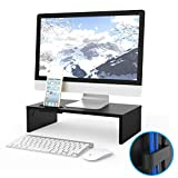 1home Wood Monitor Stand TV PC Laptop Computer Screen Riser Desk Storage Black, W420 x D235 x H104 (with Smartphone Holder and Cable Management)