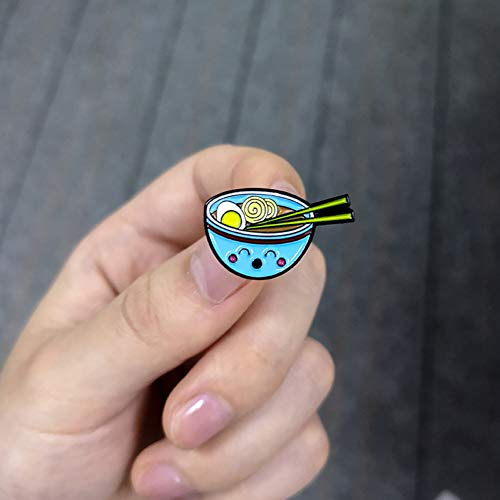 JTXZD Brosche Nette Nudeln Emaille Pin Ramen Ei Suppe B Stäbchen Emaille Broschen Anstecknadeln Abzeichen Cartoon Stifte Junge Mädchen - Herr Nudel Kostüm