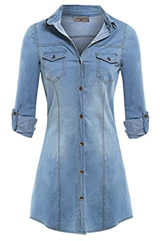 SS7 NEUF Extensible CHEMISE EN JEANS ROBE TAILLES 8 - 14 - Jean Bleu, 38