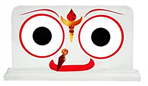 DollsofIndia Jagannathdev Face on Acrylic Base for Car Dashboard - 3 x 5.5 x 1.75 inches