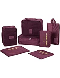 LQZ (Set Of 7) Travel Storage Organizer Bag Set For Cloth, Shoes,Lingerie, Toiletries