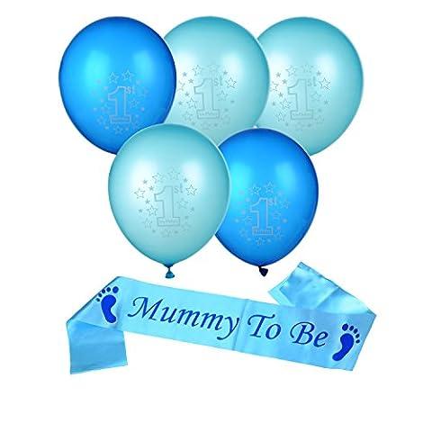 Satinior Mummy To Be Sash Écharpe Sash Satin Baby Shower Décorations Favors de Fêtes et 10 Pièces Ballons de Fête