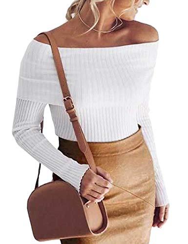 ECDAHICC Damen Pullover, langärmelig, gerippt, schulterfrei, sexy, dehnbar, solide geschnittene Tops, Bluse - Weiß - Klein -