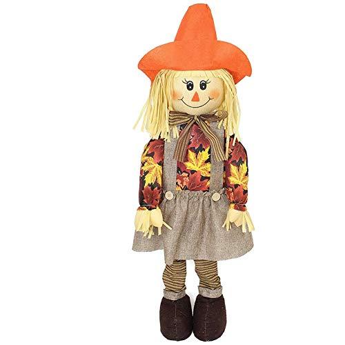 (SIDCO Vogelscheuche Strohpuppe Herbst Deko Halloween Dekoration Gartendeko Frau)