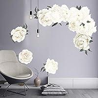 QWEDSA White Peony Flower Cluster Wall Sticker Art Nursery Decals Kids Room Home Decor Wedding Mural