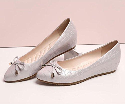 Damen Slipper Slip On mit Schleife Anti-Rutsche Aufzug Gitter Lackleder Süße Dating Einfache Schuhe Weiß