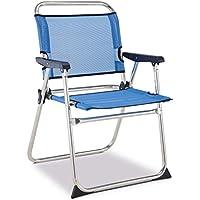 Solenny Silla marinera plegable para playa de aluminio, tejido textiline transpirable en color azul