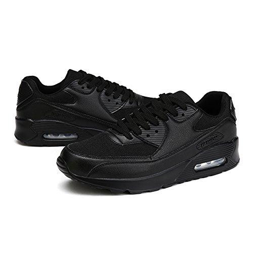 Young & Ming Trendige Unisex Laufschuhe Damen Herren Sneaker Sport Fitness Turnschuhe Freizeit Profilsohle Bequeme Frauen Schuhe Running Shoes Dämpfung Low Top Sportschuhe(Schwarz,38 EU)