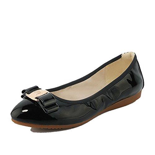 AgooLar Femme Rond Tire Pu Cuir Couleur Unie à Talon Bas Chaussures à Plat Noir