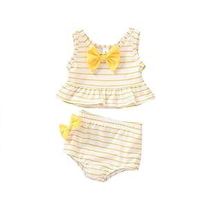 Heetey Bañador para niña, niño y niña, diseño de Rayas y Arco + bañador de Rayas 13