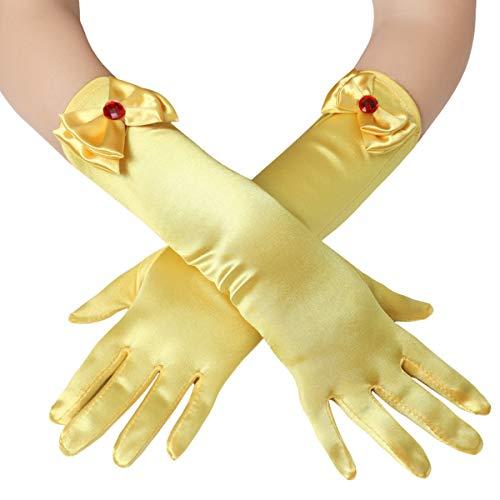Coucoland Mädchen Satin Handschuhe mit Schleife klassisch Hochzeitskleid Prinzessin Handschuhe Mädchen Fasching Kostüm Accessoires (Gelb)
