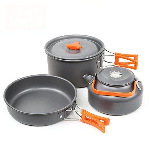 Outdoor Camping Kochgeschirr Set Non Stick 2-3 Person Pot Pan Kit für Outdoor-Backpacking Gear & Wandern Kochen Ausrüstung
