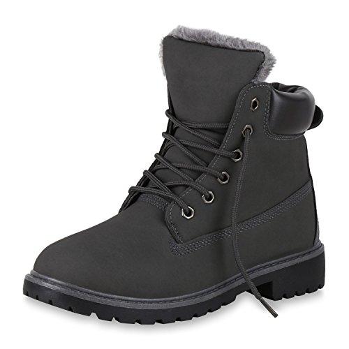 SCARPE VITA Damen Stiefeletten Warm Gefütterte Worker Boots Outdoor Schuhe 149519 Grau Warm Gefüttert 39