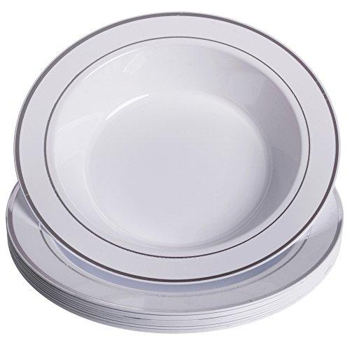 GRÄWE Einweg-Suppenteller Ø 26 cm, 10er Set - tiefe Kunststoff-Teller in Porzellan-Optik, weiß/silber