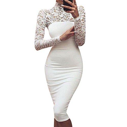 Abito elegante in pizzo floreale da donna - Maniche lunghe, collo alto, lunghezza al ginocchio, abiti da cerimonia per signora bianca
