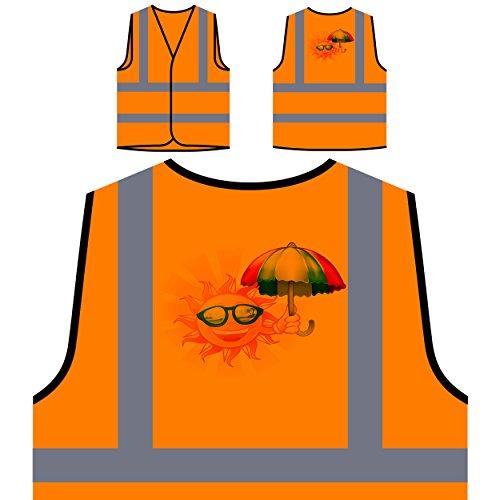 Feiertage Sonnen Sonnenbrillen Personalisierte High Visibility Orange Sicherheitsjacke Weste m46vo