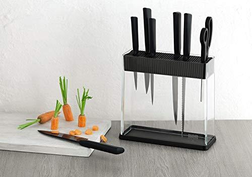 KUHN RIKON knife block 26594 Messerblock Vision, unbestückt, leer, für Verschiedene Messer, schwarz, transparent, Plastik, farblos